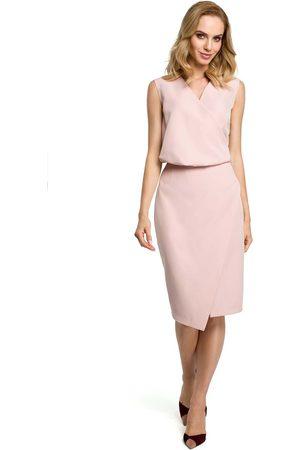 MOE Kobieta Sukienki bez rękawów - Pudrowa wizytowa sukienka kopertowa bez rękawów