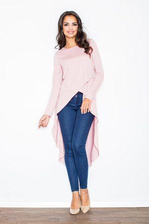 Figl Kobieta Sukienki asymetryczne - Różowa asymetryczna modna tunika z długim rękawem