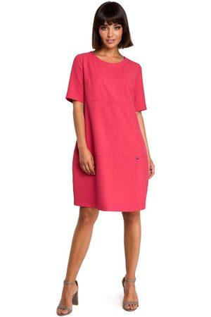 MOE Kobieta Sukienki dzienne - Różowa casualowa sukienka bombka przed kolano