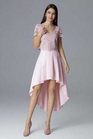 Figl Kobieta Sukienki asymetryczne - Różowa dwuczęściowy zestaw koronkowa bluzka + asymetryczna spódnica