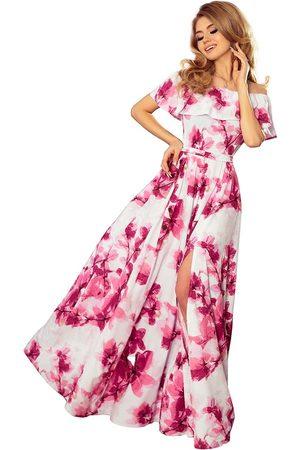 Numoco Różowa kwiecista maxi sukienka z hiszpańskim dekoltem
