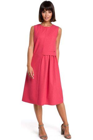MOE Kobieta Sukienki midi - Różowa luźna letnia sukienka midi z marszczeniami na boku