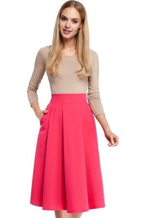 MOE Kobieta Spódnice midi - Różowa midi spódnica z kontrafałdami