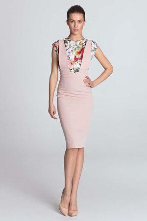 Nife Różowa ołówkowa elegancka sukienka z szelkami