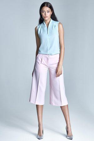Nife Różowe eleganckie spodnie za kolano z szerokimi nogawkami