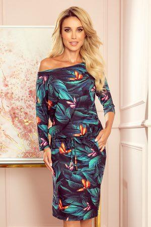 Numoco Kobieta Spódnice i sukienki - Sportowa sukienka ze ściągaczem -kolorowe motyle