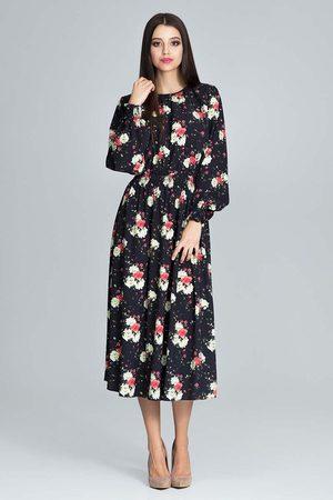 Figl Kobieta Sukienki koktajlowe i wieczorowe - Stylowa sukienka w barwny deseń z bufiastym rękawem - wzór 75