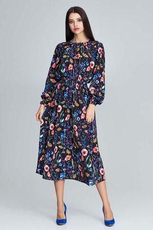 Figl Kobieta Sukienki koktajlowe i wieczorowe - Stylowa sukienka w barwny deseń z bufiastym rękawem - wzór 77