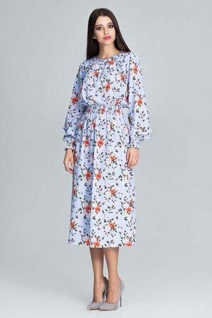 Figl Kobieta Sukienki koktajlowe i wieczorowe - Stylowa sukienka w barwny deseń z bufiastym rękawem - wzór 76