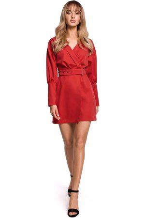 MOE Sukienka kopertowa z bufiastym rękawem - czerwona