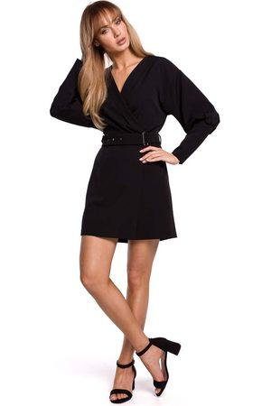 MOE Kobieta Sukienki koktajlowe i wieczorowe - Sukienka kopertowa z bufiastym rękawem - czarna