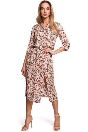 MOE Sukienka midi w kwiatki z rozcięciem z przodu - model 5