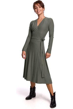 MOE Kobieta Sukienki koktajlowe i wieczorowe - Sukienka kopertowa z długim rękawem - khaki