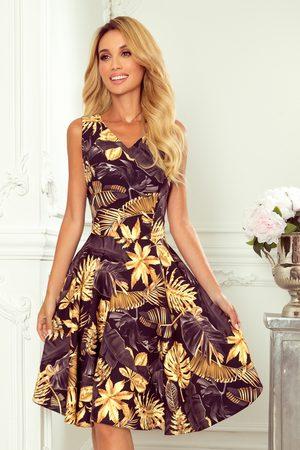 Numoco Kobieta Sukienki koktajlowe i wieczorowe - Sukienka elegancka rozkloszowana na szerokich ramiączkach - liście