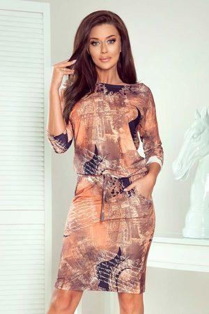 Numoco Kobieta Spódnice i sukienki - Sukienka sportowa ściągana w pasie - miedziany wzór