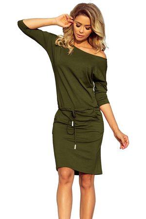 Numoco Kobieta Spódnice i sukienki - Sukienka sportowa ściągana w pasie - khaki