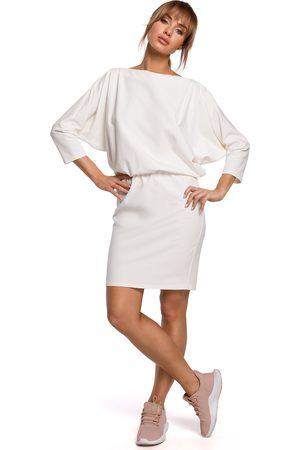 MOE Kobieta Spódnice i sukienki - Sukienka sportowa z dekoltem v na plecach - ecru