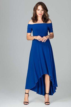Katrus Szafirowa długa asymetryczna sukienka z odkrytymi ramionami