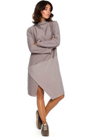 MOE Szara asymetryczna sukienka z golfem