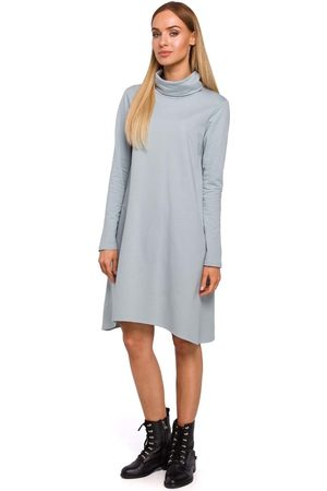 MOE Szara asymetryczna trapezowa sukienka z golfem