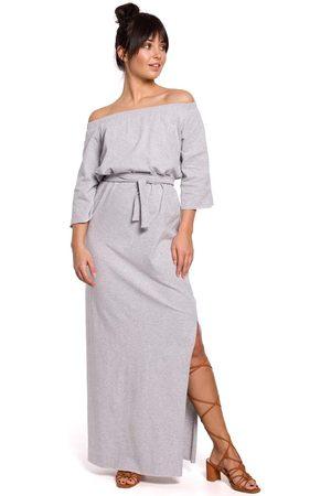 MOE Kobieta Sukienki dzianinowe - Szara dzianinowa długa sukienka z szerokim dekoltem