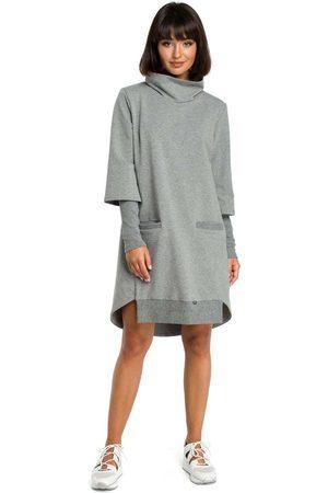 MOE Kobieta Sukienki asymetryczne - Szara dresowa asymetryczna sukienka z golfem