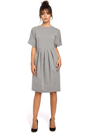 MOE Kobieta Sukienki koktajlowe i wieczorowe - Szara sukienka dresowa z zakładkami
