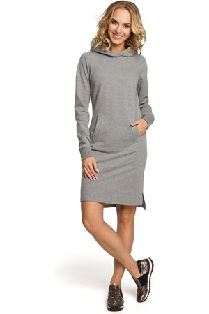 MOE Kobieta Spódnice i sukienki - Szara sukienka sportowa kangurka z kapturem
