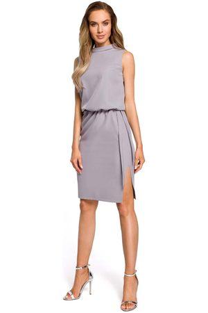 MOE Kobieta Sukienki bez rękawów - Szara zbluzowana midi sukienka na stójce bez rękawów