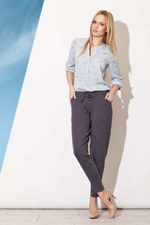 Figl Kobieta Spodnie - Szare długie spodnie z troczkami