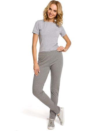 MOE Kobieta Dresy - Szare dresowe spodnie z dzianiny