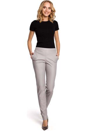 MOE Kobieta Spodnie skórzane - Szare eleganckie spodnie rurki z eko-skóry