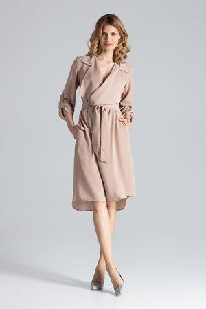 Figl Kobieta Sukienki koktajlowe i wieczorowe - Szlafrokowa beżowa sukienka z podpinanym rękawem