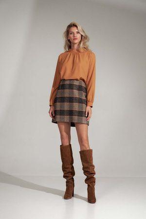 Figl Kobieta Spódnice mini - Trapezowa mini spódnica- w kratę