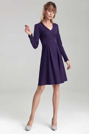 Nife Kobieta Sukienki koktajlowe i wieczorowe - Trapezowa sukienka z długim rękawem - fioletowa