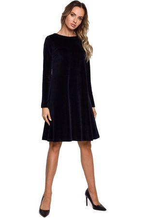 MOE Kobieta Sukienki koktajlowe i wieczorowe - Trapezowa sukienka z weluru - granatowa