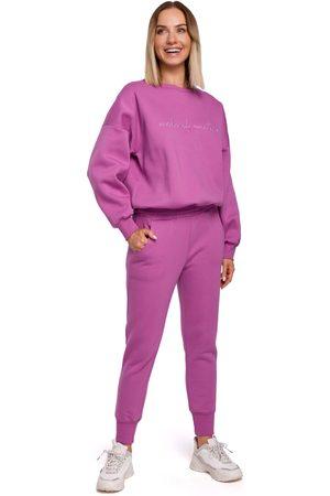 MOE Kobieta Dresy - Uniwersalne dresowe spodnie na gumie - lawendowe