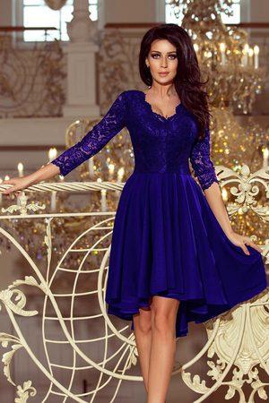 Numoco Wieczorowa asymetryczna sukienka z koronką - chabrowa