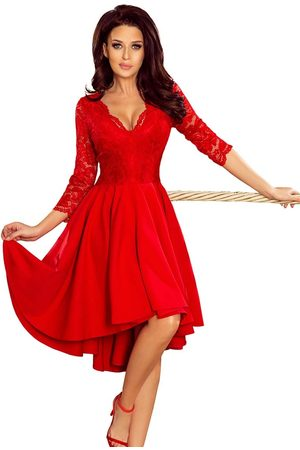 Numoco Kobieta Sukienki asymetryczne - Wieczorowa asymetryczna sukienka z koronką - czerwona