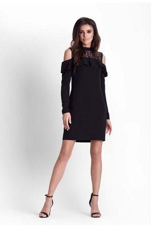 Ivon Kobieta Sukienki koktajlowe i wieczorowe - Wizytowa czarna sukienka z koronką z wyciętymi ramionami