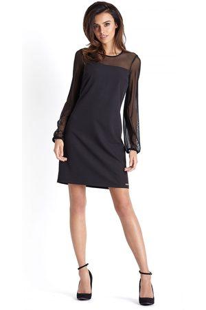Ivon Wizytowa sukienka z tiulowym rękawem - czarna