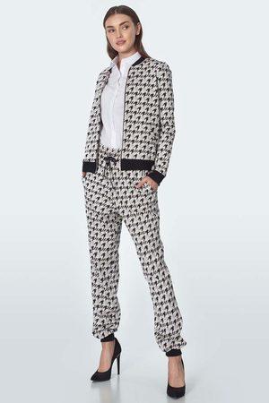 Nife Kobieta Dresy - Wygodne spodnie w pepitkę z wiązaniem w pasie