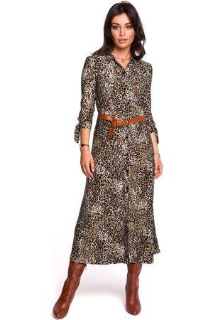 MOE Wzorzysta midi sukienka zapinana na guziki model 2