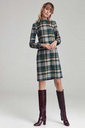 Nife Wzorzysta prosta sukienka ze stójką - kratka