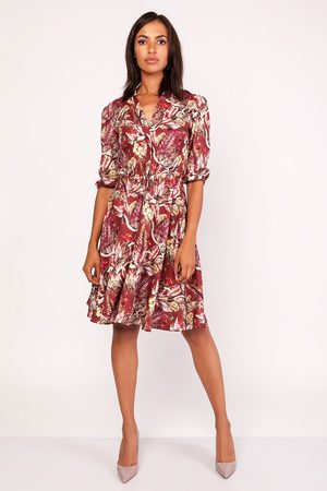 Lanti Wzorzysta sukienka ze stójką z rozkloszowanym dołem