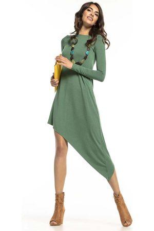 Tessita Zielona asymetryczna sukienka dzianinowa