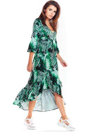 Awama Zielona asymetryczna sukienka midi z florystycznym motywem
