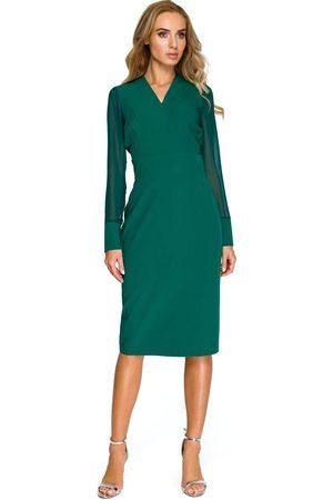 MOE Zielona dopasowana wizytowa sukienka z siateczkowym rękawem