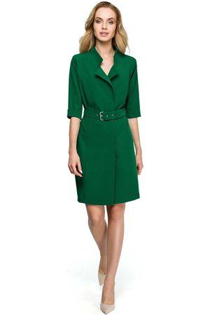 MOE Zielona elegancka szmizjerka z paskiem