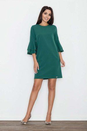 Figl Kobieta Sukienki koktajlowe i wieczorowe - Zielona elegancka sukienka z hiszpańskim rękawem